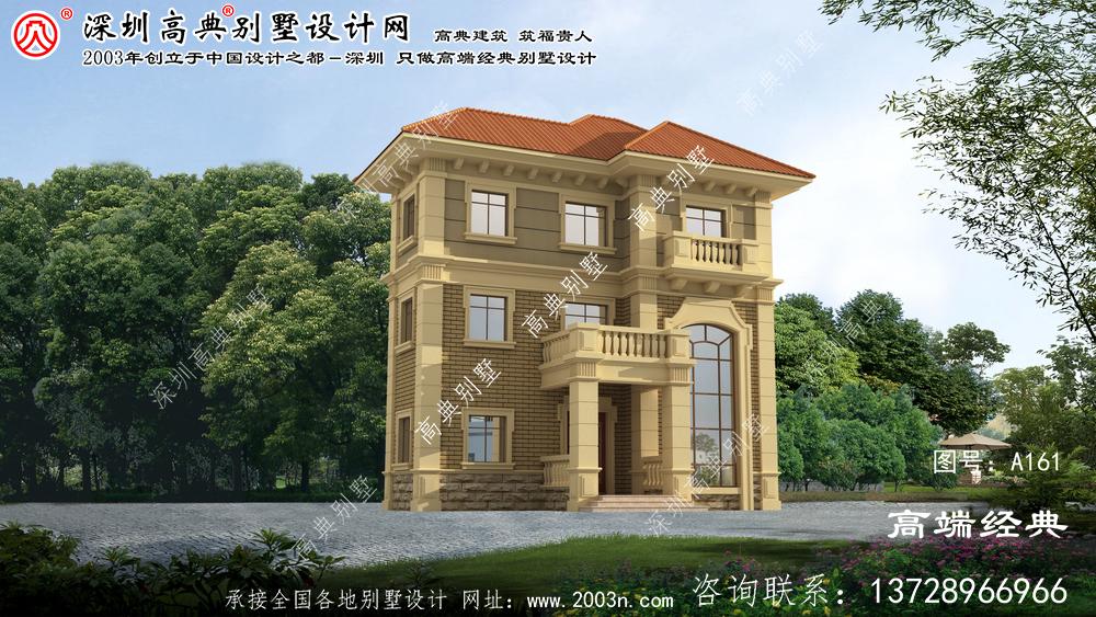 张家港市简欧三层自建房屋设计,外观优雅端庄。