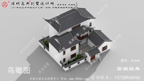 安化县有庭院的新中式别墅效果图