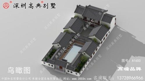 中式带庭院自建房设计图,建成后很有韵味,有