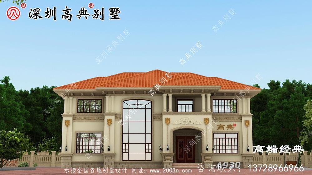 最新款的二层小洋房设计效果图,漂亮实用,盖好后全家都满意