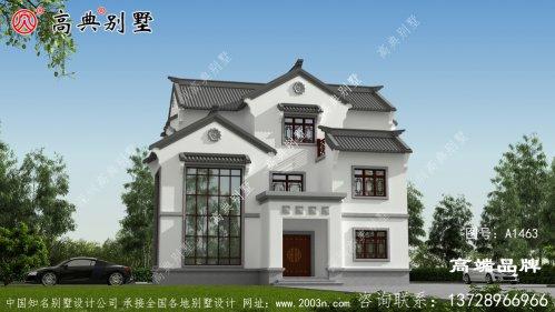 农村自建中式三层别墅,百看不厌中国风