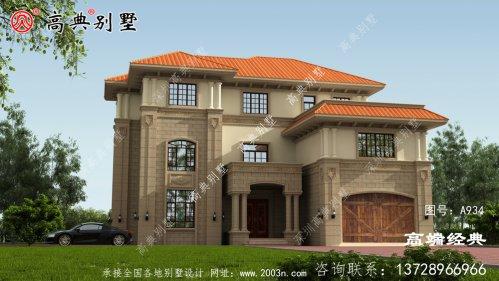 二楼突出的墙面让别墅更有立体感,农村别墅就